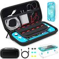 Accessories Kit for Nintendo Switch Lite, 6 in 1 Bundle, TPU Carrying Case with 10 Game Card Slots, Anti-Scratch Tempered Glass Screen Protector, Clear Protective Case, 6 Thumb Grip Caps, USB Cable