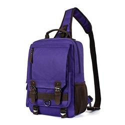 H HIKKER-LINK Canvas Messenger Bag Crossbody Shoulder Backpack Sling Bag Rucksack Daypack Casual Travel School Purple Large
