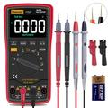 Auto Ranging Digital Multimeter TRMS 6000 with Battery Alligator Clips Test Leads AC/DC Voltage/Account,Voltage Alert, Amp/Ohm/Volt Multi Tester/Diode(EBTN Screen,Red)