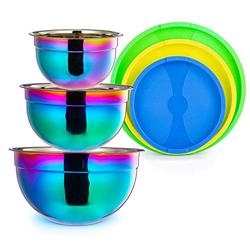 Rainbow Mixing Bowls with Lid 3 Piece Stainless Steel Salad Nesting Bowl Set for Chef Prep Cooking Baking Kitchen Food Preparation Fruit Serving Storage Colorful Multicolor Metal Bowls 2.11 3.6 5.5 Qt