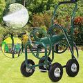 Garden Hose Reel Cart with Wheels, Heavy Duty Outdoor Water Planting Truck Reel Cart Tools, Holds 300FT, Hose Tubular Steel Yard Truck with Storage Basket Best Patio Lawn Garden Watering Cart