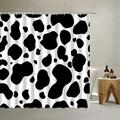 Cow Print Fabric Shower Curtain,Black White Shower Curtain Creative Red Love Pattern Farmhouse Animal Cowhide Pattern with Plain Black Spots, Cloth Decor Set with Hooks for Bathroom,70X70 Inch