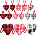 18 Pieces Valentine's Day Heart Ornaments Buffalo Check Heart Ornaments Plaid Heart Hanging Decorations for Valentine's Day (Black and White, Red and Black, Red and White)