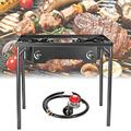 TELAM Flat Top Gas Grill Griddle Portable 2 Burner Propane Gas Grill and Griddle Combo Stainless Steel BBQ Gas Grill with Folding Legs, Propane Gas Grill for Outdoor Use