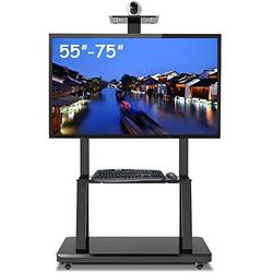 LXING TV Rack Furniture Rolling TV Stand Adjustable Height, Portable Heavy Duty Mobile Trolley for 55-75 inch Plasma/LCD/LED OLED TVs, Black, Load 105kg TV Rack Full Motion