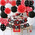 Red Mickey Mouse Birthday Party Decorations White Red Black Birthday Party Decorations Minnie Mouse Party Supplies Tissue Paper Pom Pom Flowers Paper Lanterns for Happy Birthday Decorations Baners