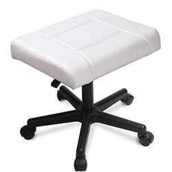 Ottomans/Office Footrests, PU Leather Foot Stool with Wheels, Foot Stand Under Desk, Height Adjustable Rolling Leg Rest, Computer Foot Rest Under Desk at Work, Small Footstool Relax Chair Gaming,White