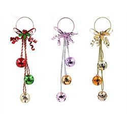 Nuxn 3pcs Christmas Jingle Bells Door Hangers 20inch Holiday Hanging Door Knob Bells Gold Purple Red Xma Tree Hanging Bells Ornaments Decorations