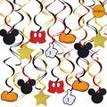 30 Pcs Mickey Hanging Swirls Decorations, Mickey Hanging Swirls for Baby Shower Mickey Theme Birthday Party Supplies, Mickey Party Photo Prop for Kids Boy