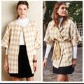 Anthropologie Jackets & Coats | Anthropologie Elevenses Houndstooth Wrap Jacket | Color: Cream/Tan | Size: Xs