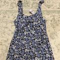 American Eagle Outfitters Dresses | Floral Blue Cotton Mini Dress | Color: Blue | Size: M
