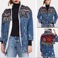 Zara Jackets & Coats | Hot Item Aztec Fleece Long Denim Jacket | Color: Blue/Red | Size: M