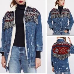Zara Jackets & Coats   Hot Item Aztec Fleece Long Denim Jacket   Color: Blue/Red   Size: M