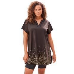Plus Size Women's Longer Length Short-Sleeve Swim Tunic by Swim 365 in Gold Foil Dots (Size 24)
