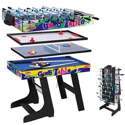 4ft 4 in 1 Multi Game Table Combo Games Table, Foosball, Air Hockey, Pool Tbale, Table Tennis (Yellow)