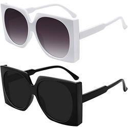 WOWSUN Oversized Sunglasses for Women Fashion Trendy Square Shades (Black Frame All Black Lens+White Frame Grey Lens)