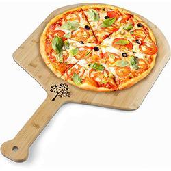 Pizza Board Pizza Spatula Pizza Cutting Board -Large Wood Bamboo Kitchen Accessory Cheese and Bread Baking Pizza Peel 14 inch Albero Design Wooden Pizza Board Server for Pizza Stone Pizza Oven
