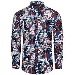 TUNEVUSE Mens Floral Shirt Casual Long Sleeve Palm Leaf Print Button Down Dress Shirt Cotton Palm Leaf Print Blue XX-Large