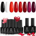 Beetles Bloody Gel Polish Set- 6 Colors Burgundy Red Shimmer with 2 Pcs Black White Gel Polish Kit Soak Off LED Gel Nail Kit Valentine's Day Girlfriend Gift for Women New Year Holiday Set Popular Nail