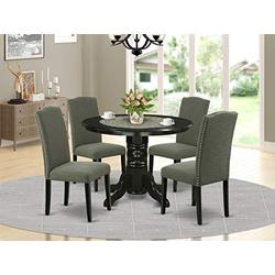 5Pc Rounded 42 Inch Dining Table And Four Parson Chair With Black Leg And Linen Fabric Dark Gotham Grey