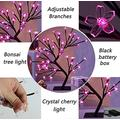 """Landwalker Tabletop Bonsai Tree Light, 20"""" Lighted Little Birch Tree DIY Artificial Tree Lamp with Battery/USB Operated for Bedroom Desktop Home Christmas Party (48 LED Warm Pink Cherry Petals Timer)"""
