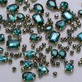 130 pcs (30 Regular +100 Small) Mixed Sew on Rhinestone Claw Crystal Rhinestones for DIY Craft, Jewelry Making,Clothing Accessory (Copper, Gold Claw - Emerald)