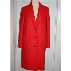 J. Crew Jackets & Coats | Melton Wool Topcoat Sz 6 Beautiful Red Worn Once! | Color: Red | Size: 6