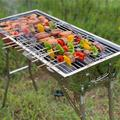 """TOPSKY TOPSKY 13"""" Outdoor Household BBQ Portable Charcoal Grill w/ Smoker, Steel/Porcelain-Coated Grates/Stainless Steel in Silver   Wayfair"""