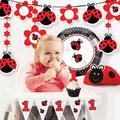 """The Party Aisle™ Ladybug Fancy First Birthday Party Decoration Kit in Red/Gray/Black, Size 14""""H X 9""""W X 2""""D 