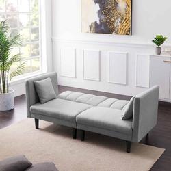 "Corrigan Studio® Rana 73.62"" Square Arm Sofa Wood/Linen/Linen Blend in Gray, Size 31.5 H x 73.62 W x 32.28 D in   Wayfair"
