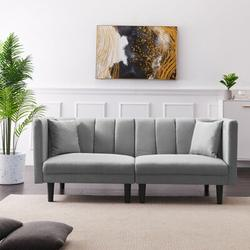 "Corrigan Studio® Billy-Joe 73.62"" Tuxedo Arm Sleeper Linen/Linen Blend in Gray, Size 31.5 H x 73.62 W x 32.28 D in   Wayfair"