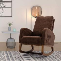 Corrigan Studio® Esra Rocking Chair Glider Upholstered/Polyester or Polyester Blend/Fabric in Brown, Size 39.76 H x 27.16 W x 37.0 D in   Wayfair