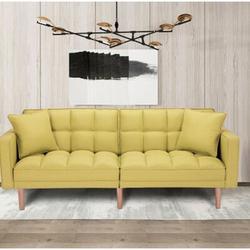 "Corrigan Studio® Billy-Joe 73.62"" Tuxedo Arm Sleeper Polyester/Polyester Blend in Yellow, Size 31.5 H x 73.62 W x 32.28 D in | Wayfair"