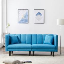 """Corrigan Studio® Goebel 73.62"""" Round Arm Sleeper Wood/Linen/Linen Blend in Blue, Size 31.5 H x 73.62 W x 32.28 D in   Wayfair"""