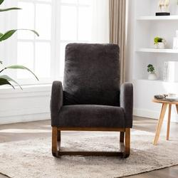 Corrigan Studio® Esra Rocking Chair Glider Upholstered/Polyester or Polyester Blend/Fabric in Gray, Size 39.76 H x 27.16 W x 37.0 D in | Wayfair