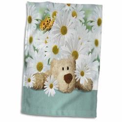 East Urban Home Sidney Cute Teddy Bear in a Daisy Garden w/ Butterflies Kid Friendly Hand Towel Microfiber/Terry/Cotton in Blue/Brown/Yellow Wayfair