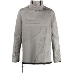 Funnel-neck Patchwork Knit Jumper - Gray - Byborre Knitwear