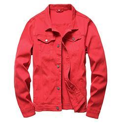 LAMKUKU Mens Denim Jacket Ripped Slim Jean Jacket Coat for Men, Red, 2XL