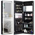 CHARMAID Jewelry Cabinet with LED Touch Screen Mirror, 47.5'' Wall/Door Mounted Jewelry Armoire with Full Length Mirror, Large Storage, Lockable Jewelry Organizer Armoire (Black)