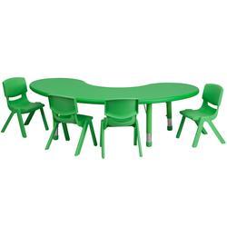 "Flash Furniture YU-YCX-0043-2-MOON-TBL-GREEN-E-GG Half Moon Preschool Activity Table & (4) Chair Set - 35""L x 65""W, Plastic Top, Green"