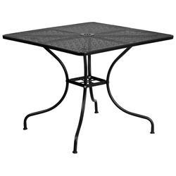 "Flash Furniture CO-6-BK-GG 35 1/2"" Square Patio Table w/ Rain Flower Design Top & Umbrella Hole - Steel, Black"