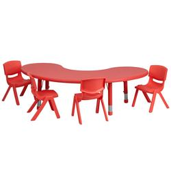 "Flash Furniture YU-YCX-0043-2-MOON-TBL-RED-E-GG Half Moon Preschool Activity Table & (4) Chair Set - 35""L x 65""W, Plastic Top, Red"