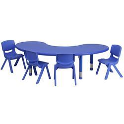 "Flash Furniture YU-YCX-0043-2-MOON-TBL-BLUE-E-GG Half Moon Preschool Activity Table & (4) Chair Set - 35""L x 65""W, Plastic Top, Blue"