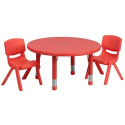 """Flash Furniture YU-YCX-0073-2-ROUND-TBL-RED-R-GG 33"""" Round Preschool Activity Table & (2) Chair Set - Plastic Top, Red"""