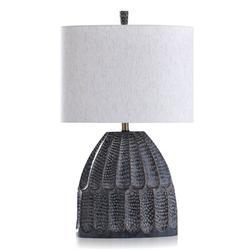 "George Oliver Murguia 30"" Dark Blue Table LampResin/Linen in Blue/Brown/White, Size 30.0 H x 18.0 W x 9.5 D in | Wayfair"