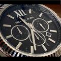 Michael Kors Other | Michael Kors Lexington Silver-Finish Men Watch | Color: Red/Silver/Tan | Size: 44mm