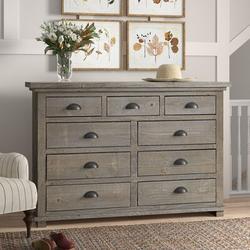Birch Lane™ Lockridge 9 Drawer DresserWood in Gray, Size 44.0 H x 66.0 W x 20.0 D in | Wayfair BD701A1E8DC44680945A014E9D919064