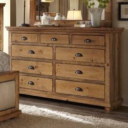 Birch Lane™ Lockridge 9 Drawer DresserWood in Brown/Green, Size 44.0 H x 66.0 W x 20.0 D in | Wayfair 0B3FF9191A5D48D597C45811B59895D0