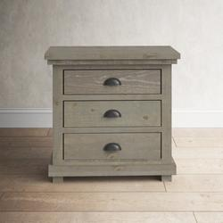 "Birch Lane™ Lockridge 3 - Drawer Solid Wood Bachelor's Chest, Wood in Weathered Gray, Size 31""H X 32""W X 17""D 