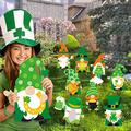 4/7 / 8 Pcs Valentine's Day Yard Signs with Stakes Valentine St. Patrick's Day Gnomes Easter Bunny Stake Yard Signs Decorations Outdoor Lawn Decor (St. Patrick's Day-8PCS)